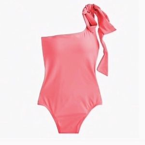 NWT J. Crew Bow Tie One Shoulder Pink Swimsuit 4